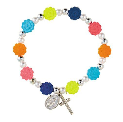 Colorful Flower Stretch Rosary Bracelet - 24/pk