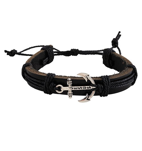 Jesus Anchor Leather Bracelet - 12/pk