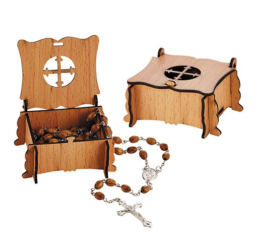 Olive Wood Finish Rosary with Cross Box - 6/pk