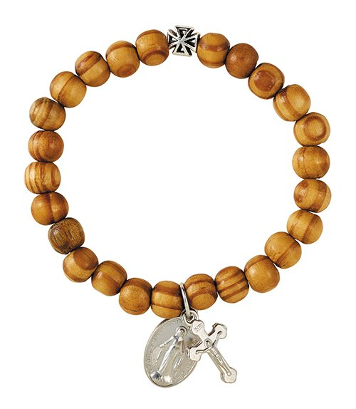 Olive Wood Finish Miraculous Bracelet - 12/pk