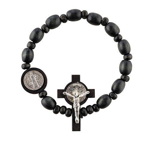 St. Benedict Wood Stretch Rosary Bracelet - 12/pk