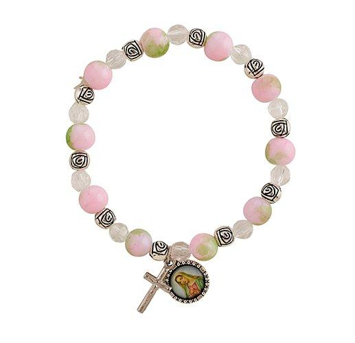 Rose Bead Rosary Bracelet - 12/pk