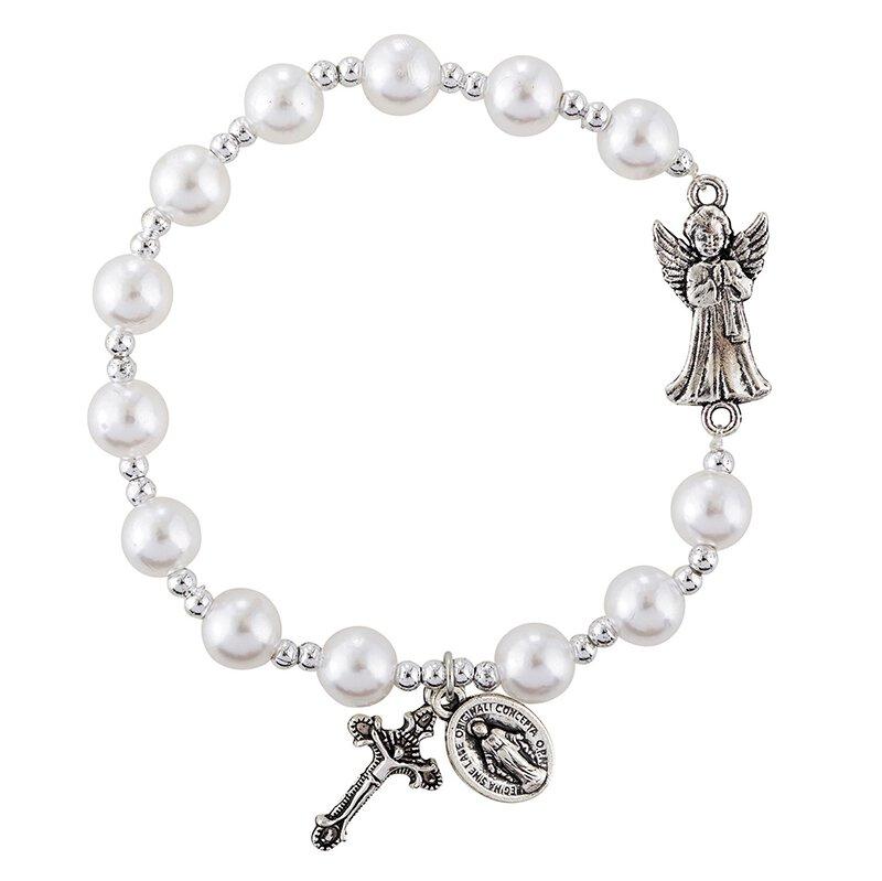 Guardian Angel Imit. Pearl Rosary Bracelet - 12/pk