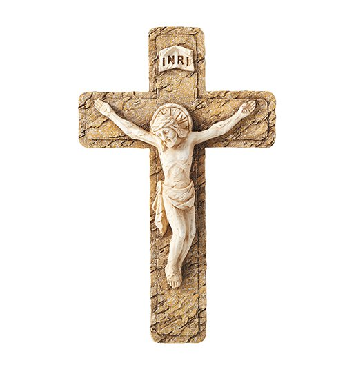 Stone Textured Wall Crucifix - 2/pk