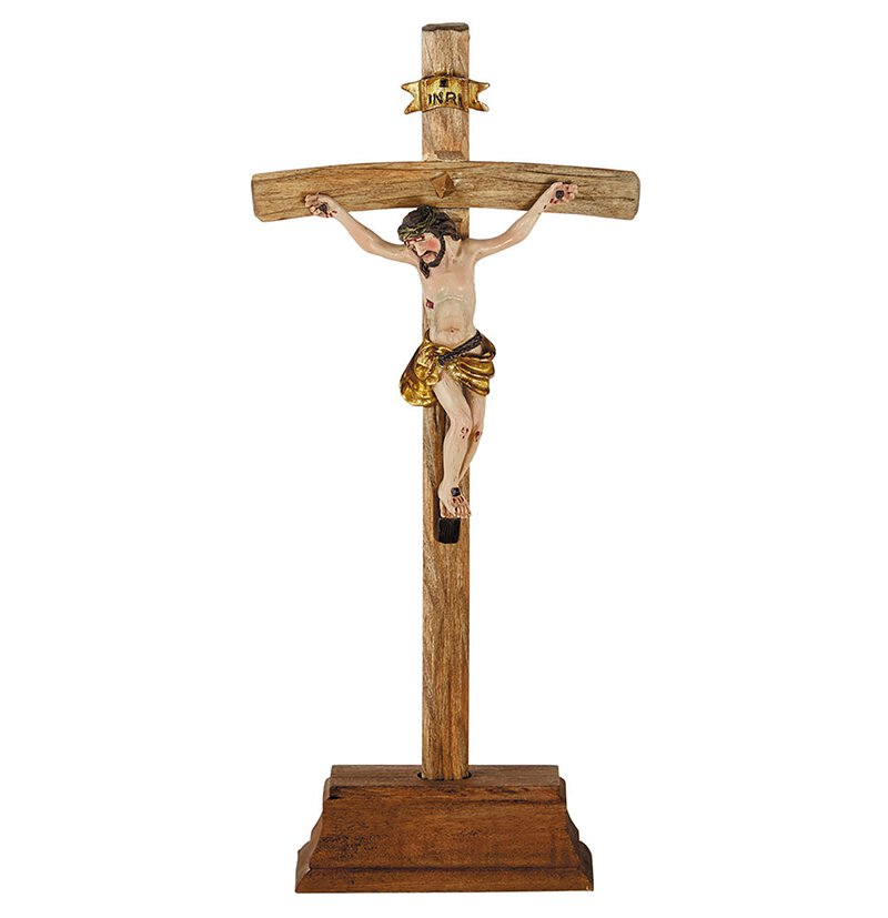 "19"" Standing Papal Crucifix w/Removable Base"