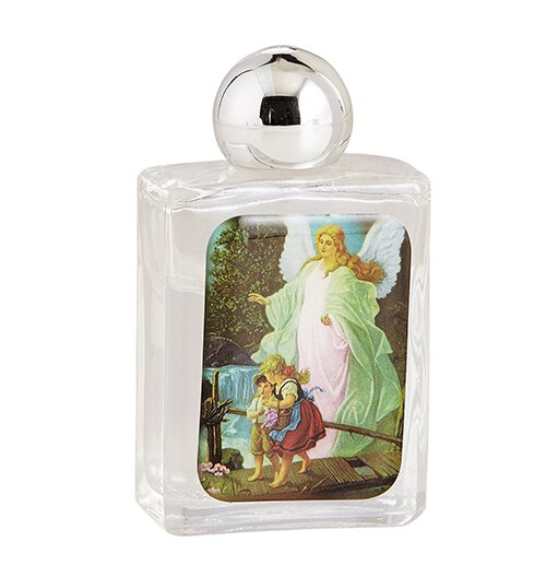Guardian Angel Glass Holy Water Bottle - 12/pk
