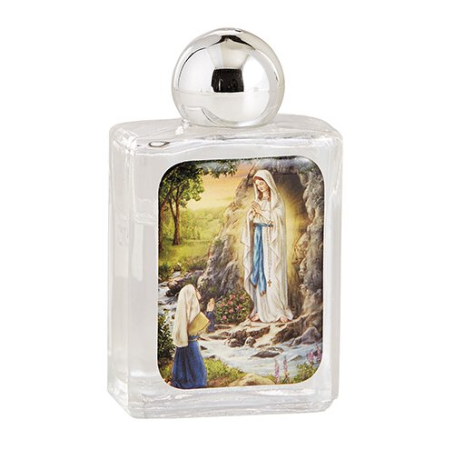 Our Lady of Lourdes Glass Holy Water Bottle - 12/pk