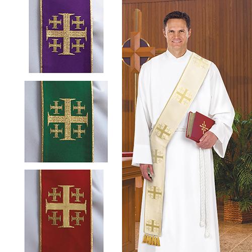 Jerusalem Cross Deacon Stole Set of 4 Colors