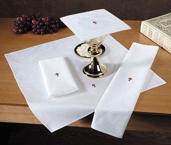 Red Fleur De Lis Cross Lavabo Towel - 12/pk