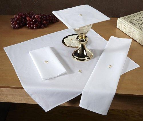 Gold Fleur De Lis Cross Lavabo Towel - 12/pk