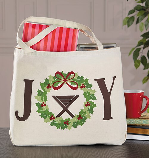 joy christmas canvas tote bag 6pk