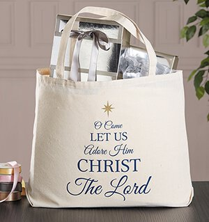 O Come Let Us Adore Him Christmas Canvas Tote Bag - 6/pk