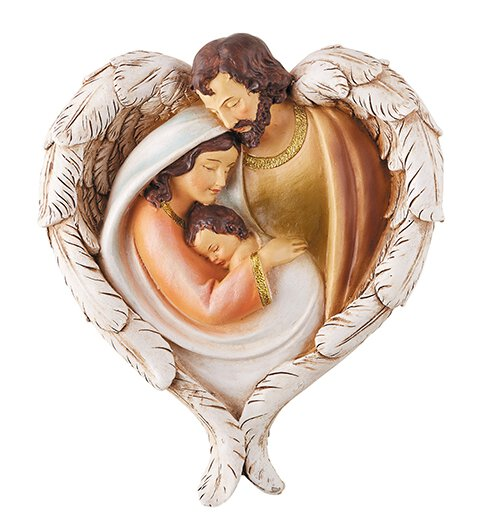 Holy Family with Angel Wings Plaque - 2/pk