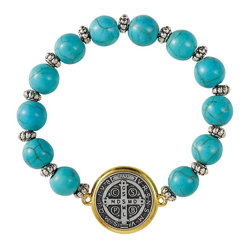St. Benedict Turquoise Beaded Bracelet - 6/pk