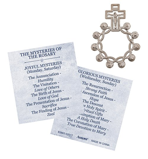 Rosebud Rosary Ring with Mysteries Card - 24/pk