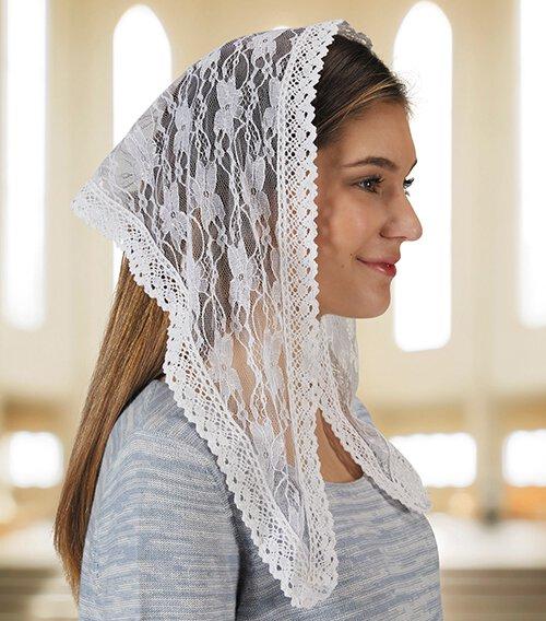 White Lace Modern Chapel Veil - 2/pk