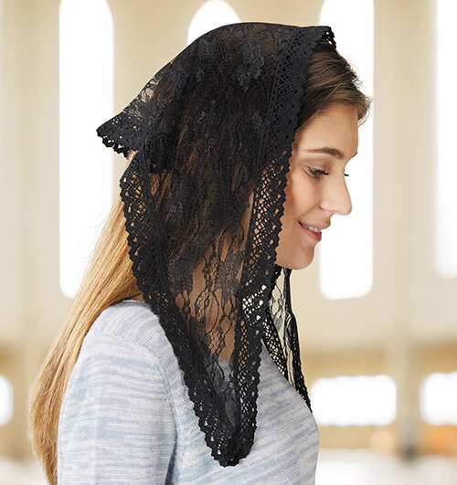 Black Lace Modern Chapel Veil - 2/pk