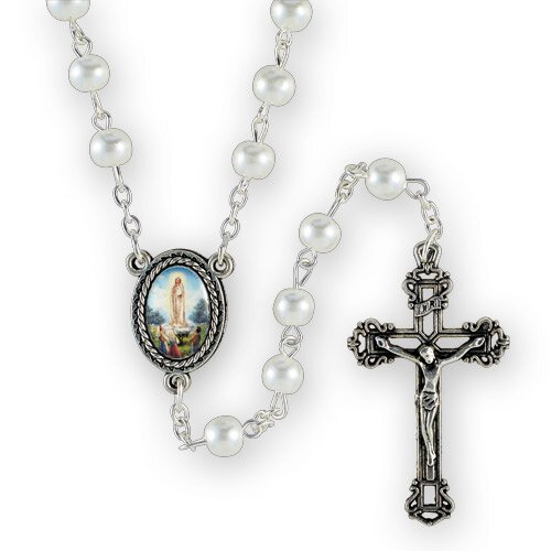 White Glass Pearl Our Lady of Fatima Rosary