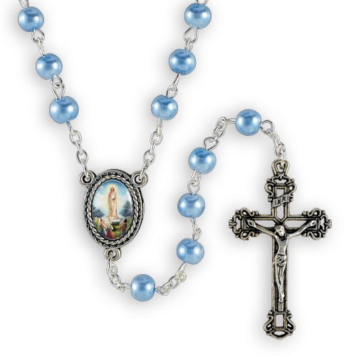 Light Blue Glass Pearl Our Lady of Fatima Rosary