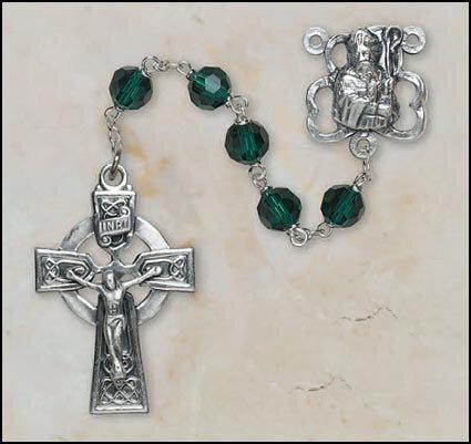 8mm Emerald Crystal Irish Rosary - St. Patrick Clover Center