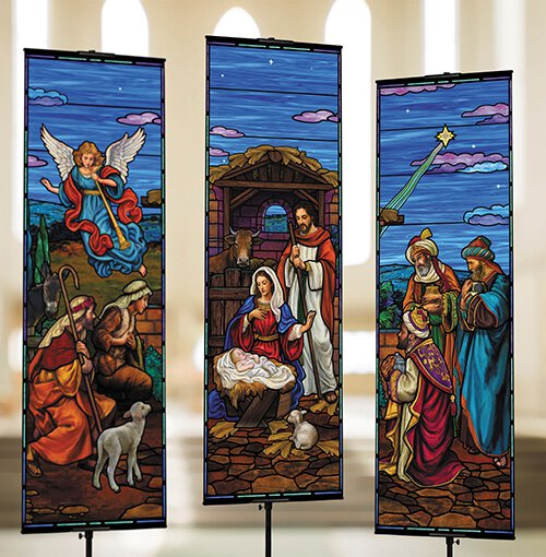 Stained Glass Nativity Banner Set