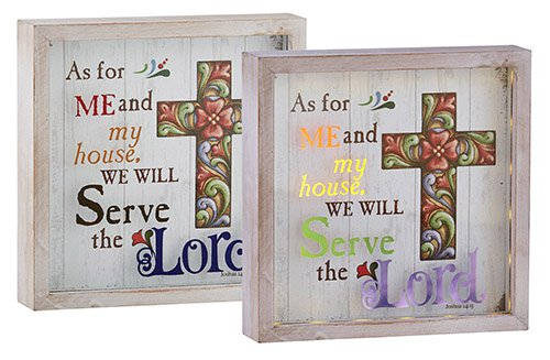 Jim Shore - As For Me and My House We Will Serve the Lord Joshua 24:15 - Light Box