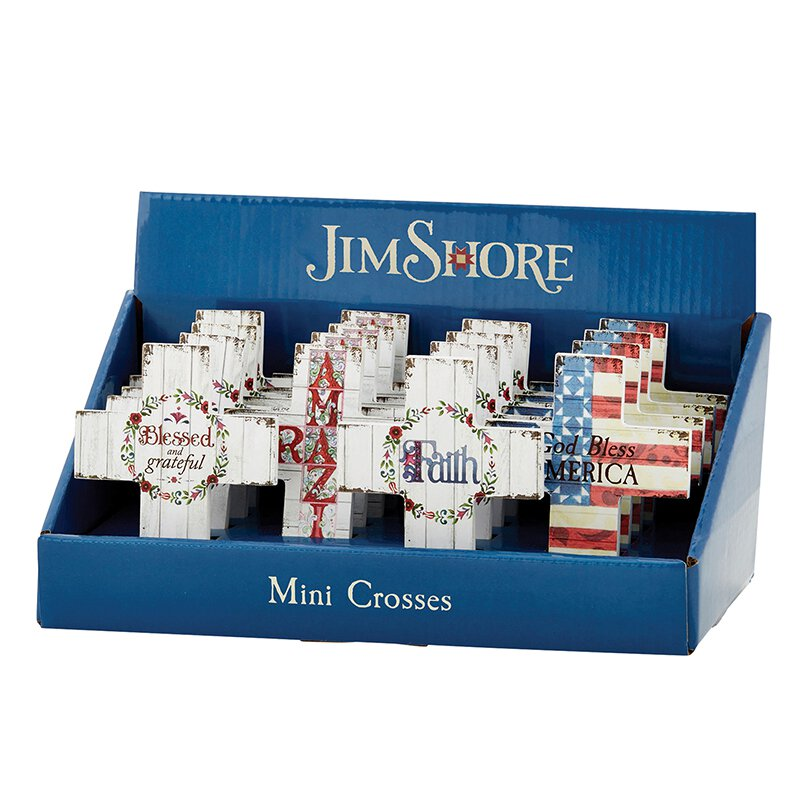 Jim Shore - Filled Mini Cross Display (16pcs)