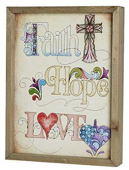 Jim Shore- Faith, Hope, Love- Framed Print