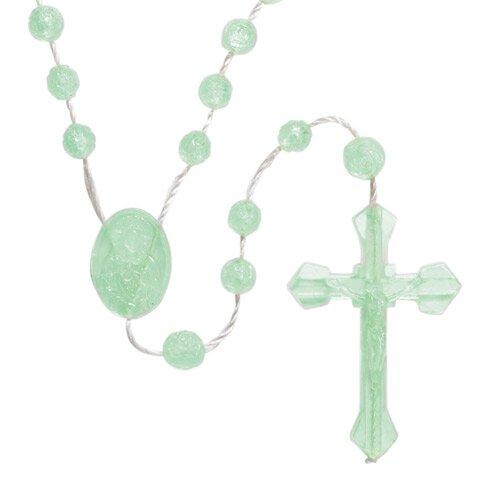 Rosebud Bead Luminous Cord Rosary -100/pk