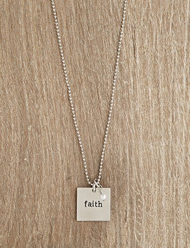 Urban Hope -Silver Faith Square Disc on Silver Ball Chain Necklace with Pearl Dangle