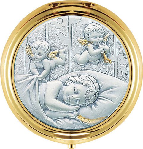 "Baby with Angels 2.25"" Dia Gold Plated Box"