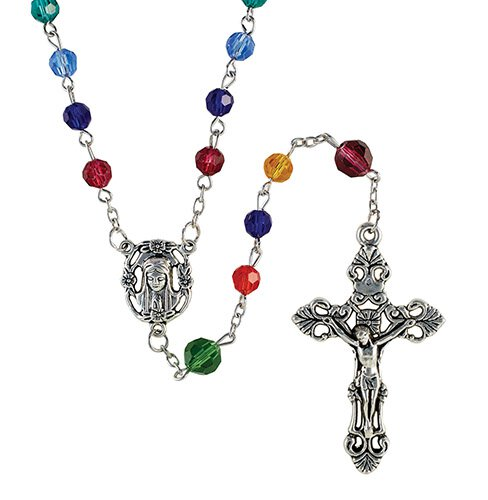 6 & 8mm Cathedral Window Glass Bead Rosary