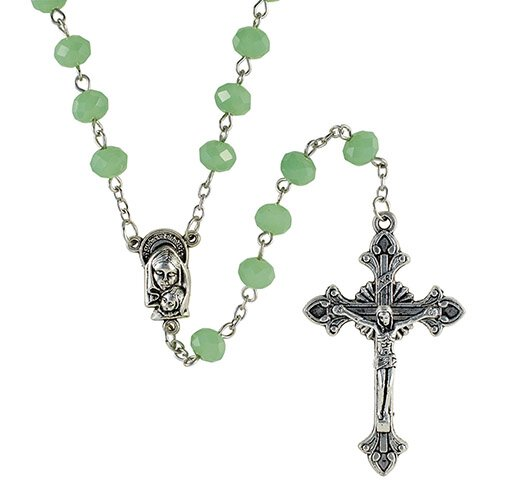 8mm Opaque Green Glass Bead Rosary