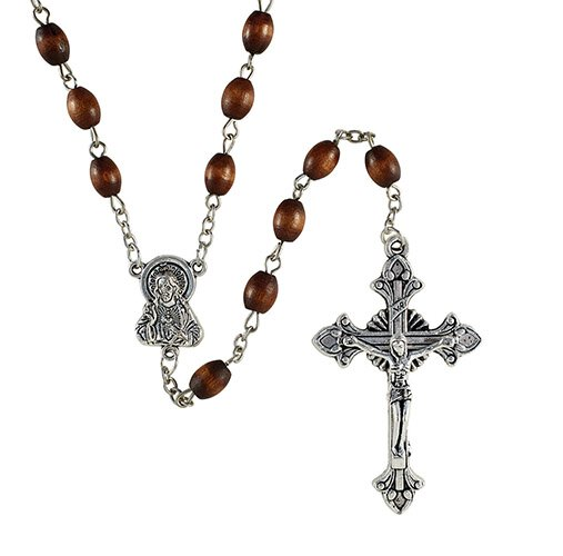 6 & 8mm Wood Oval Brown Bead Rosary