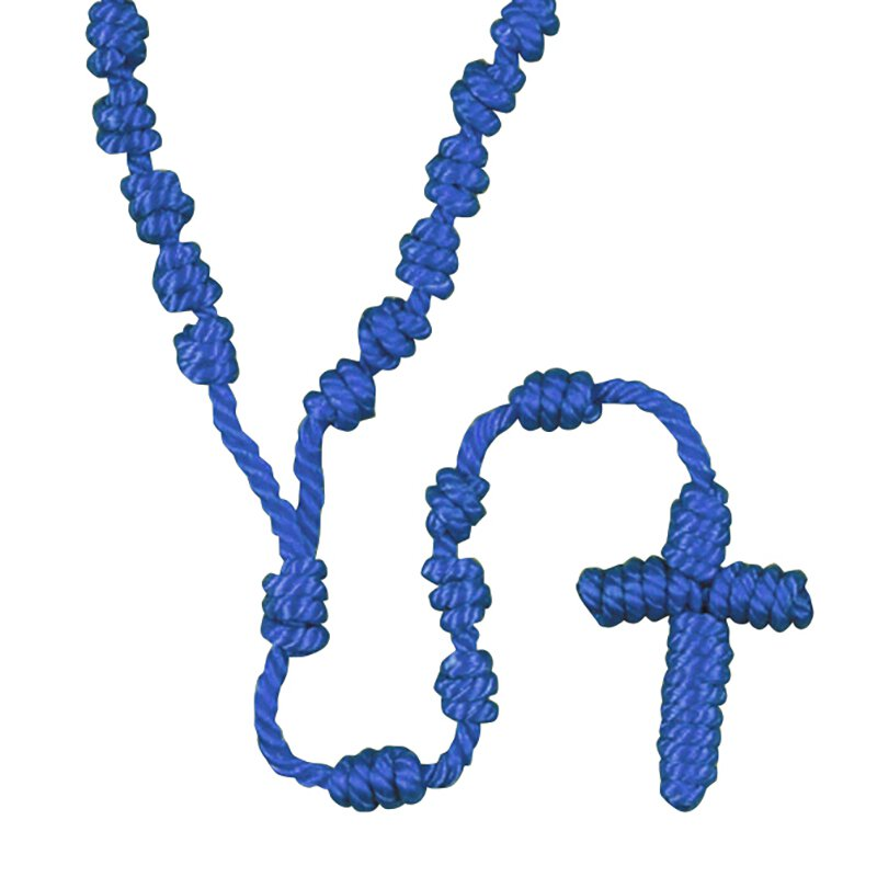 Blue Knotted Cord Rosary