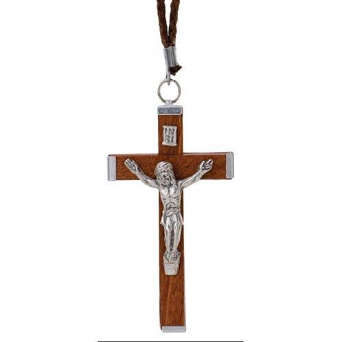 Wood Crucifix Pendant - on Cord