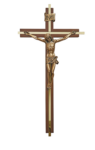 "12"" Walnut Finish Crucifix with Gold Plate Inlay"