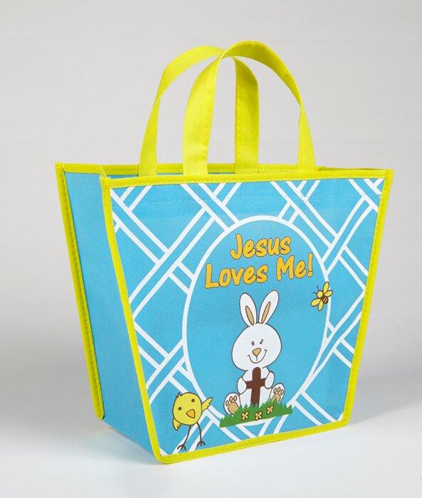 Jesus Loves Me! Easter Basket Shaped Tote Bag - 12/PK