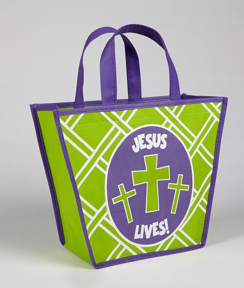 Jesus Lives! Easter Basket Shaped Tote Bag - 12/pk