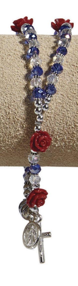 Divine Mercy Rosary Bracelet Blue & Crystal Beads