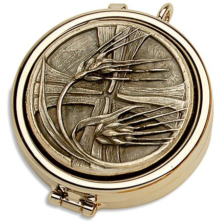 Cross with Wheat Pyx Nickel Plate