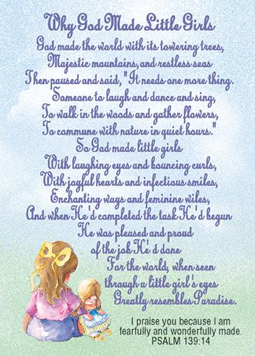Verse Cards God Made Little Girls
