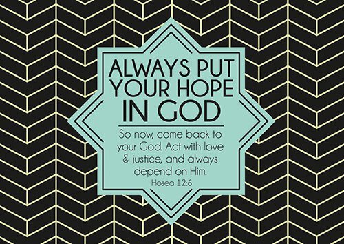 Postcard - Put Your Hope in God - 6/pk - Devotional Items  Put Your Hope In God