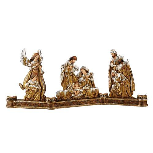 Metallic Nativity Advent Candleholder