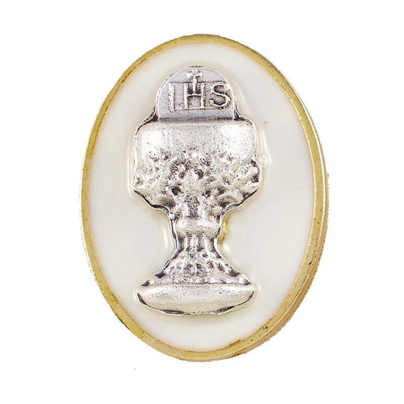 First Communion Chalice Lapel Pin - White - 12/pk