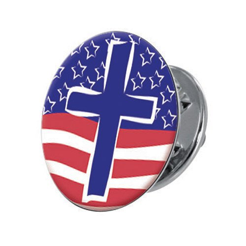 Faith in Action Lapel Pin - The Cross & The Flag - 12/pk