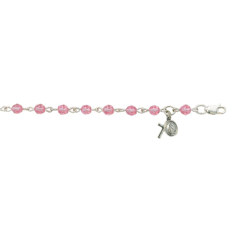 Creed® Baby Bracelet with Cross and Miraculous Medal - Light Rose