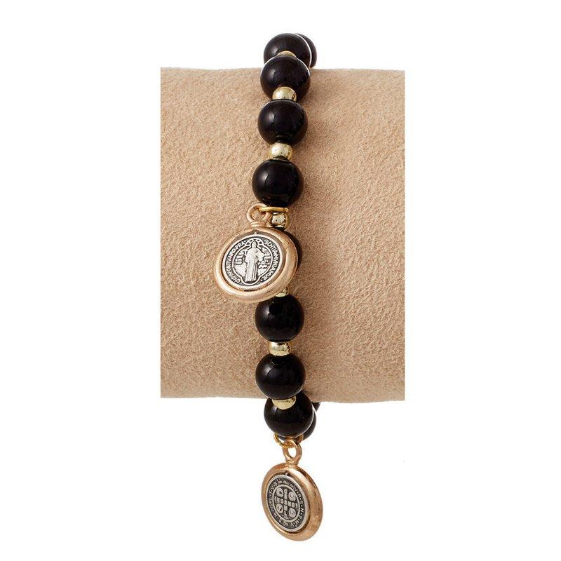 St. Benedict Bracelet with Medal Dangles - Black