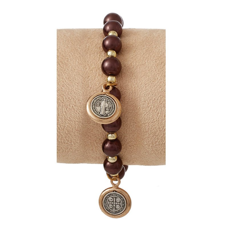 St. Benedict Bracelet with Medal Dangles - Bronze