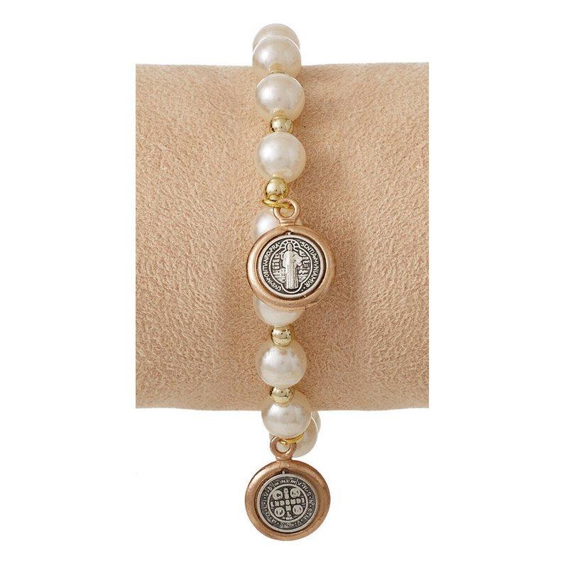 St. Benedict Bracelet with Medal Dangles - Ivory
